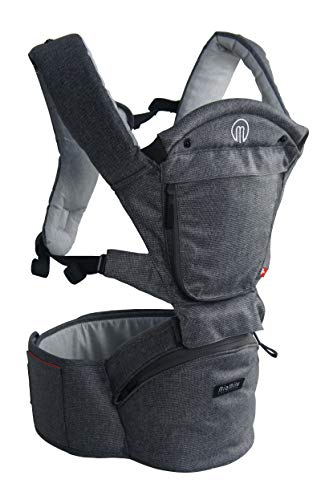MiaMily Hipster Smart Hip Seat Baby Carrier with 6 Carry Positions incl. Ergonomic Forward-Facing, Built-in Storage, Adjustable Waist Belt with Lumbar Support, for Newborn to Toddler, Grey