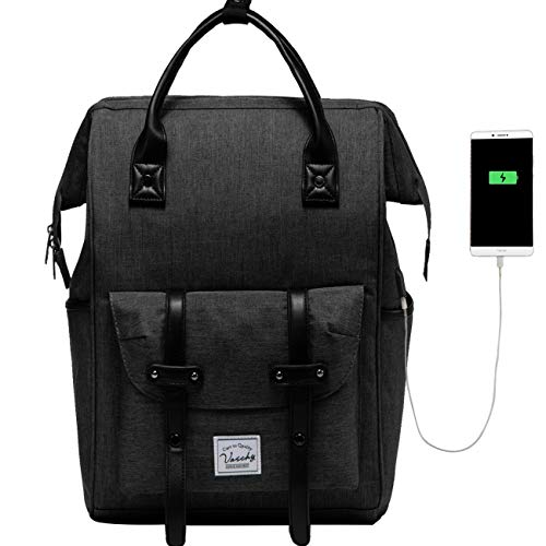 Laptop Backpack, VASCHY Water Resistant 15.6inch Anti-Theft Laptop Rucksack for Men and Women with USB Charging Port Wide Open Work Bag Daypack for Travel College Dark Gray
