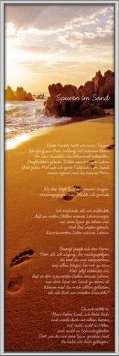 Unbekannt Poster mit Rahmen 30,5 x 91,5 cm, Silber - Spuren im Sand gerahmt - Antireflex Acrylglas