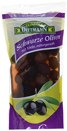 Feinkost Dittmann Oliven schwarz mit Stein, 10er Pack (10 x 125 g)