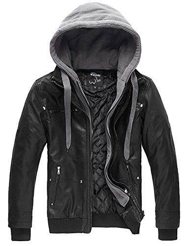Wantdo Men's Leather Jacket with Removable Hood US X-Large Black(Heavy)