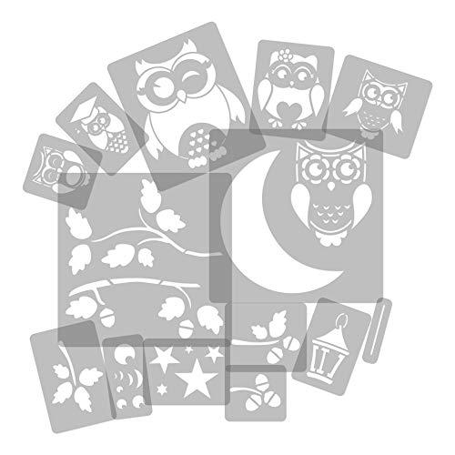 14 Stück wiederverwendbare Kunststoff-Schablonen // Eule – Mond – Ast // 34cm bis 8cm // Kinderzimmer-Dekorarion // Kinderzimmer-Vorlage