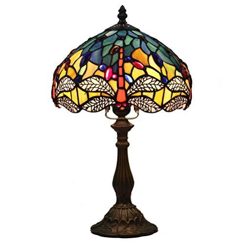 Odziezet Lampada Stile Tiffany Vintage Pastorali di Vetro Macchiato Lampada da Tavolo da Letto Comodino Con Nappa