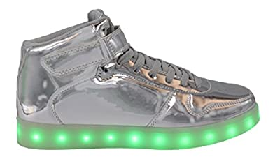 Transformania Toys Galaxy LED Shoes Light Up USB Charging High Top Lace & Strap Women's Sneakers (Silver) 6