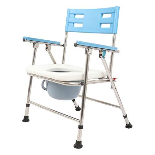 Schwangere Frau Tragbarer Badezimmerstuhl Ältere Töpfchen Toilettensitz Klappbett Kommode, für ältere Personen Rutschfester PU-Sitz