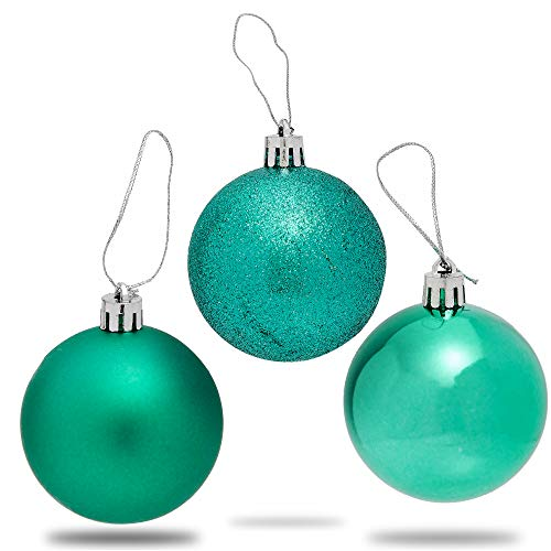 Mini Shatterproof Glitter Christmas Tree Ball Ornaments (Forest Green, 2.3 in, 36 Pack)