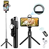 Selfie Stick Tripod Update Bluetooth Selfie Stick with Detachable Wireless Remote/Build-in Light/HD Mirror