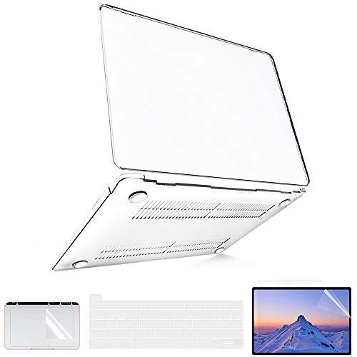 Funda MacBook Pro de 13 pulgadas 2020 a 2016 (Modelo: A2338 M1 A2289 A2251 A2159 A1989), Funda MacBook Pro 2020 + 2 Cubiertas de Teclado de TPU + Protectores de Pantalla + Protección TrackPad, Claro