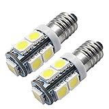 Ruiandsion 2 bombillas LED E10 de 12 V 5050 9SMD, color blanco E10, con base de rosca en miniatura, 12 V, linterna de trabajo