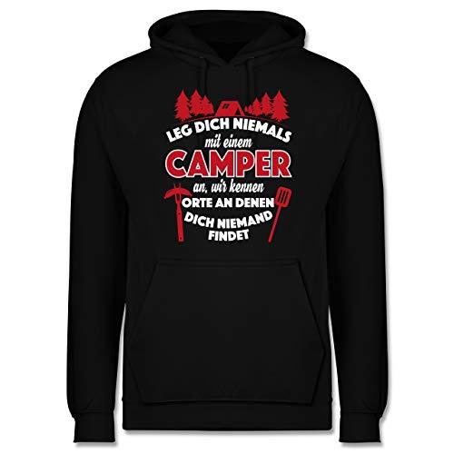 Shirtracer Hobby - Leg Dich Niemals mit einem Camper an - 3XL - Schwarz - Pulli Camping - JH001 - Herren Hoodie und Kapuzenpullover für Männer