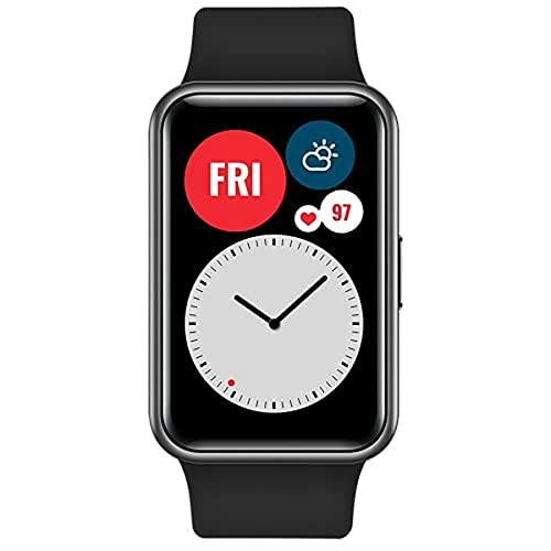 HUAWEI WATCH FIT Smartwatch, Display AMOLED da 1.64', Animazioni Quick-Workout, Durata della Batteria 10 Giorni, 96 Modalità di Allenamento, GPS Integrato, 5ATM, Monitoraggio del Sonno, Black