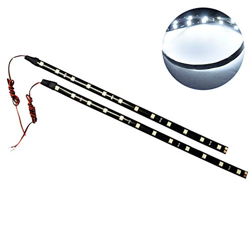 SOCAL-LED 2x 12' White Flexible LED Strips High Power Bright 5050 12 SMD Car DRL Under Dash Accent Light, Waterproof, Cuttable