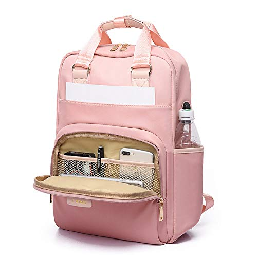 Waterproof Laptop Backpack Female Fashion Girl College Students Backpack 13 13.3 14 15 15.4 15.6 inch Back Pack Women Men Oxford Cloth Black Pink Ladies Casual Daypacks (15-15.6 inch, Pink)