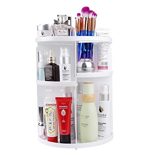 MaoXinTek Organizzatore di Trucco, Cosmetic Contenitori con 360 Gradi, Organizer Porta Rotazione, Vetrina Regolabile Stoccaggio Scatola di Esposizione per Scaffale da Bagno