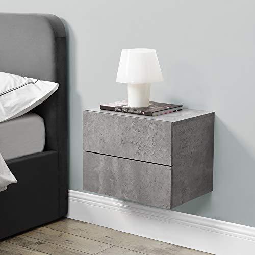 [en.casa] Wandschrank 40x29x30cm Wandregal Betonoptik Nachttisch Hängeregal mit 2 Schubladen Wandboard Wand-Schuhblade Nachtschrank