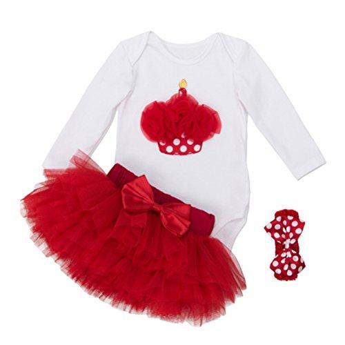 Zhhlinyuan Infant Fashion Long Sleeves Romper Tutu Skirt + Headband Bébé Girls Christmas Party Dress Photography Clothing Set