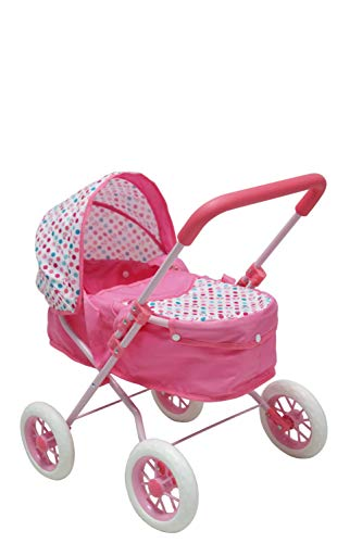 KOOKAMUNGA KIDS Rainbow 2 in 1 Doll Pram | Stroller with Removable Carry Cot | Sturdy, Lightweight and Easy to Manoeuvre (Pink)