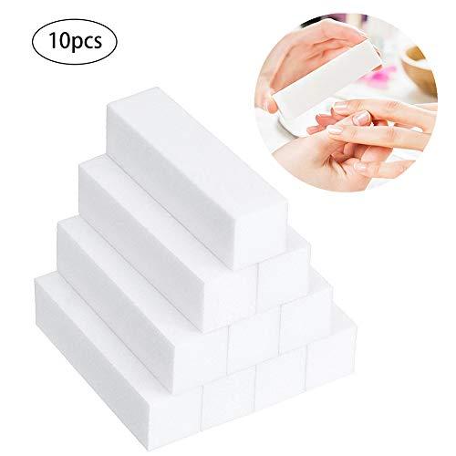 Lima de uñas cuadrada con esponja para pulir bloque de lijado para manicura, 10 unidades, color blanco