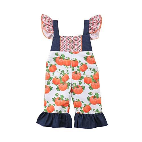 Moneycom❤Enfant en Bas âge bébé Enfants Filles Halloween Citrouille Impression Combinaison Globale vêtements Soeur Halloween Party Retro Patchwork Fairy Tale Vintage Orange(2-3 Ans)