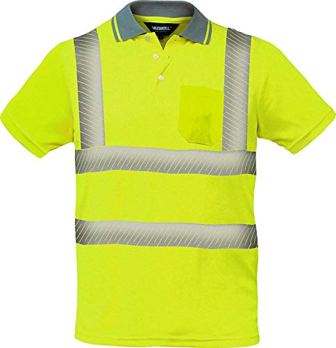 Warnschutz Polo-Shirt Coolpass mit segmentierten Reflexstreifen,Atmungsaktiv,orange oder gelb Gr.XS - 5XL (5XL, gelb)
