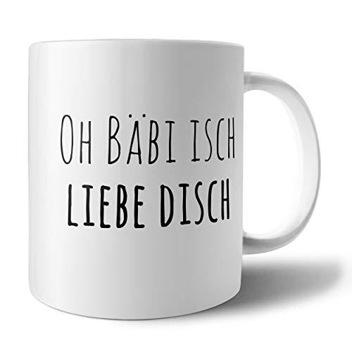 PHRASE 1 by FotoPremio Tasse mit Spruch - Oh Bäbi Isch Liebe Disch   Kaffeetasse beidseitig Bedruckt   Tasse mit Motiv   Geschenkidee für Freunde, Familie, den Liebsten, die Liebste