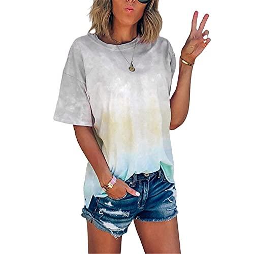 Camisa Mujeres Cómodo Cuello Redondo Tie Dye Color Degradado Mujeres Top Generoso Temperamento Casual De Moda Exquisita Elasticidad Simplicidad Única Verano Mujeres Blusa C-Grey XL