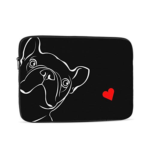Laptop Sleeve Bag Cute French Bulldog Heart Portable Zipper Tablet Cover Bag Notebook Computer Protective Bag,Black