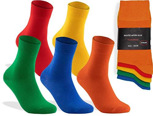world wide sox  5 Paar bunte Premium Socken aus Baumwolle, 5 Paar - Farbig, 35-38