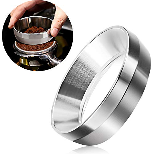 Espresso Dosing Funnel,54mm Stainless Steel Coffee Dosing Ring, Replacement Funnels Accessories Compatible with 54mm Breville Portafilter for Home/Cafe Use(Silver)