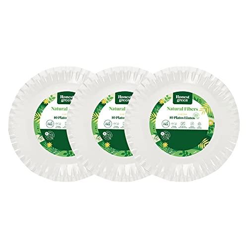 Platos llanos de cartón desechable redondos Biodegradable, 100% Reciclable 20 cm pack 30 unidades, No apto para Microondas y Horno