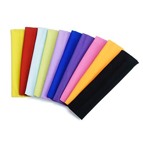 Ledeak Sport Stirnband, 10 STÜCKE Yoga Baumwolle Stirnbänder Elastische Schweißband, Kopf Band rutschfeste für Frauen Mädchen Jogging, Laufen, Wandern, Gym, Fahrrad