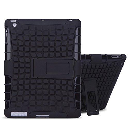 TKOOFN 2 in 1 Defender Tough Back Case with Kickstand for iPad (iPad 2/3/4, Black) - PT7100