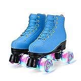 YUDOXN Patins à roulettes, Rollers quad avec 4 Roues Lumineuses,Roller Chaussure Quad Classiques pour adultes, filles, garçons et débutants(37-43)