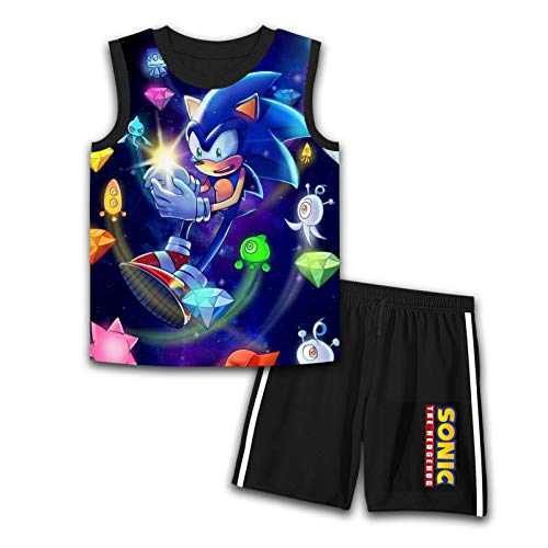 Summer Clothes Sleeveless Sleeve T-Shirt & Shorts Sets So-N-ic The Hedgehog Big Boys 2 Piece Outfit Set Small