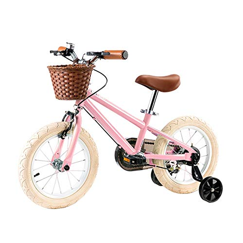 BAOMEI Kids Bike 14' & 16' Kids Outdoor Bicycle,for 3-8Years Old Boys and Girls Adjustable Children Mountain Bike (Color : Pink, Size : 14in)