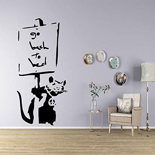 Pegatinas de pared de ratón de dibujos animados decoración de pared para bebés decoración de habitaciones de niños calcomanías de pared pegatinas creativas murales A5 L 43x90cm