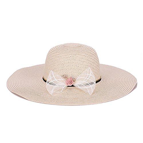 HSRG Hats Chapeau De Paille Femme Été Pliable Grand Bord Visière Protection Solaire Chapeau De Plage,Beige