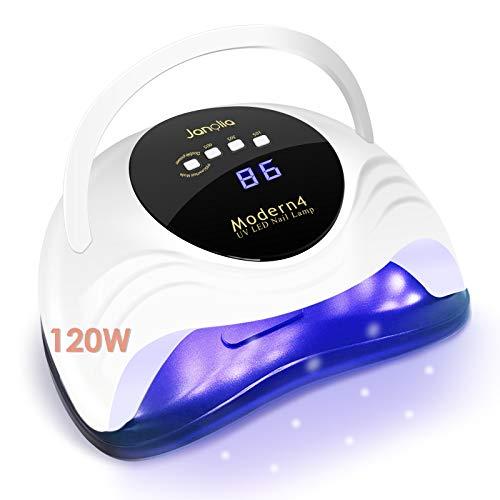 Janolia 120W Nageltrockner UV LED Lampe für Gelnägel, Nagellampe mit 4 Timern/LCD-Display/Auto-Sensor, 10/30/60/99s Schnelles Trocknen, Aushärtungswerkzeug für gel shellac lack Acryl nagelset