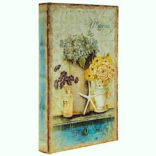 Coconut Grove Galleria Welcome Flowers Starfish Turquoise Blue Sea Green Cream Vintage Style Decorative Book Box Wood Secret Storage Jewelry Money Photos