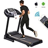 Folding Treadmill Electric Motorized Walking Jogging Running Machine with Incline, Smartphone APP Control, Bluetooth Exercise Fitness Trainer Equipment for Home Gym Office (Black)