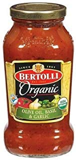 Bertolli Organic Sauce - Olive Oil, Basil, & Garlic - 24 Oz. Glass Jar (Pack of 3)