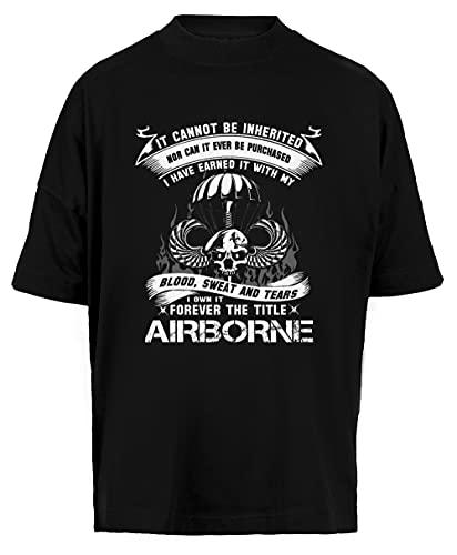 Airborne Infantry Mom Airborne Jump Wings Airborne Badge Airborne Brot Unisex Camiseta Holgada Hombre Mujer Mangas Kortas Negra Tamaño S - Unisex Baggy T-Shirt Black