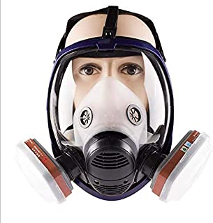Full Face Respirator- Respirator Mask Reusable Anti-Dust Paint Respirator Welding Safety Mask Industrial Gas Mask with Activated Carbon Filters