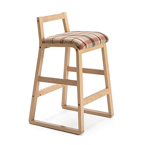 Chaises de bar, tabouret haut en bois massif, tabouret de bar rétro, tabouret de bar, tabouret de bar créatif, tabouret haut (Couleur : Beige, taille : 48x47x81.5cm)
