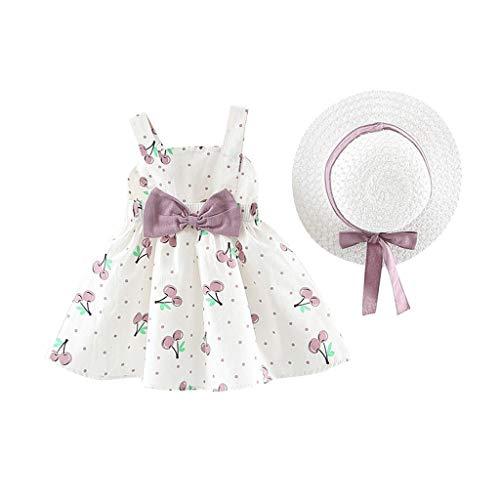 LANSKIRT Niñas Vestidos de Princesa Sin Mangas con Estampado De Cereza +Sombrero De Paja 0-2 años Falda Casual para Bebé recién Nacido Conjunto de Ropa Verano 2 Piezas