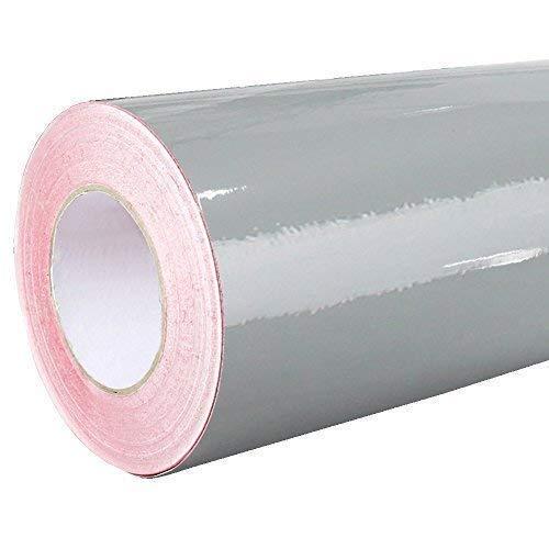 4,75€/m² Rapid Teck Glanz Folie - 071 Grau - Klebefolie - 5m x 63cm - Plotterfolie- Folie Selbstklebend - Auch als Moebelfolie - Klebefolie