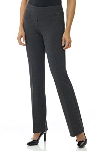 Rekucci Women's Secret Figure Pull-On Knit Bootcut Pant w/Tummy Control (16,DK Charcoal)