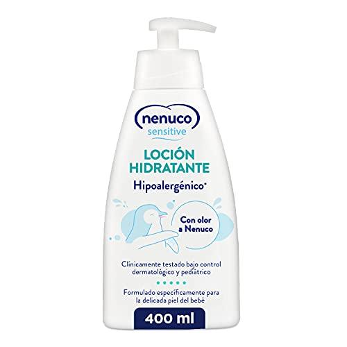 Nenuco Sensitive Loción Hidratante Hipoalergénica para bebé de fácil absorción y con olor A Nenuco, 400 ml