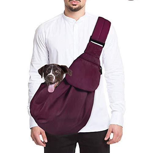 Lukovee Hundetragetasch, Tragetuch Hund Haustiere Single-Schulter Schleuderträger Verstellbare Gepolsterte Schultergurt Mit Fronttasche Hundetragebeutel Outdoor Für Gehende (Burgund)