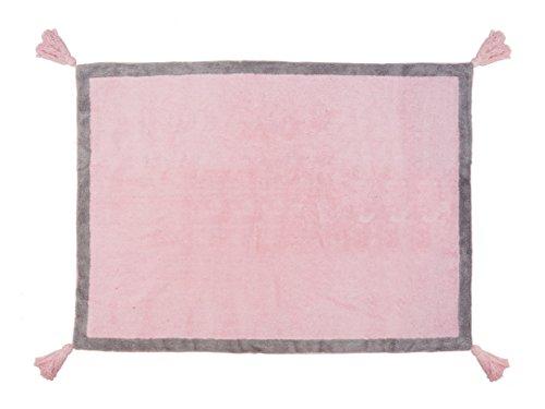 Aratextil. Tapis pour enfant 100% coton lavable en machine à laver Collection berbère Duo Rose _ gris 120 x 160 cm